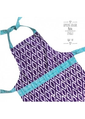Kids Batik Apron - Purple Cloud (L)